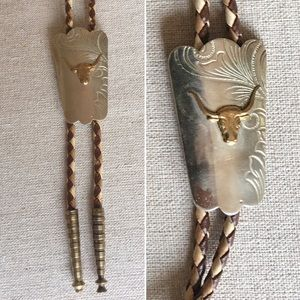 Vintage Bulls Head Bolo Tie over Scrolled Metal